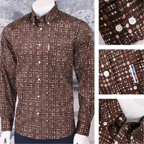 Get Up Retro Loud Lairy Bold Crazy Party Holiday Spotted Shirt Brown Thumbnail 1