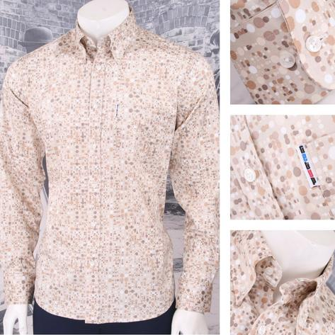 Get Up Mod Retro Skin Button Down Long Sleeve Geo Spotted Shirt Beige Thumbnail 1