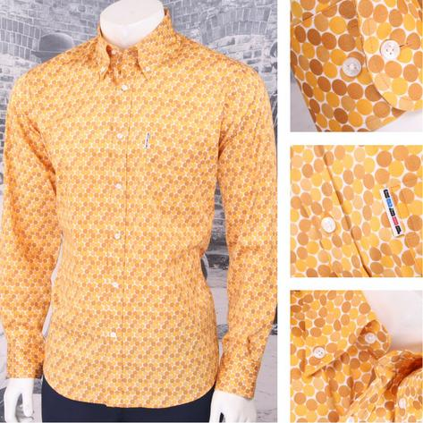 Get Up Retro Loud Lairy Bold Crazy Party Holiday Honeycomb Shirt Mustard Thumbnail 1