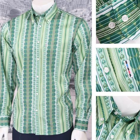 Get Up Retro Loud Lairy Bold Crazy Party Holiday Patterned Shirt Green Thumbnail 1