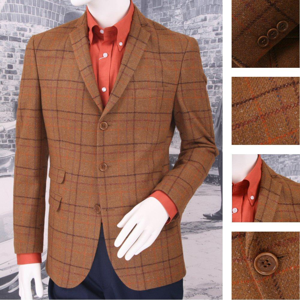Adaptor Clothing Mod 60's Retro 3 Button Tweed Overcheck Wool Mix Sports Jacket