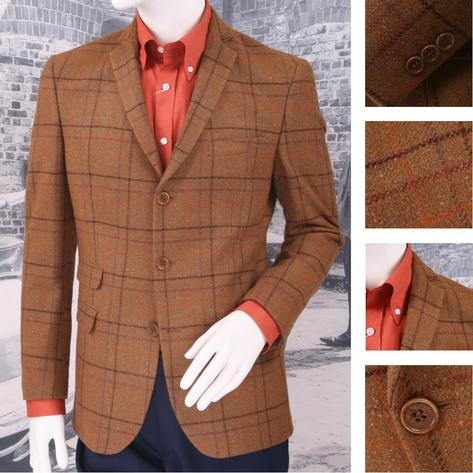 Adaptor Clothing Mod 60's Retro 3 Button Tweed Overcheck Wool Mix Sports Jacket Thumbnail 1