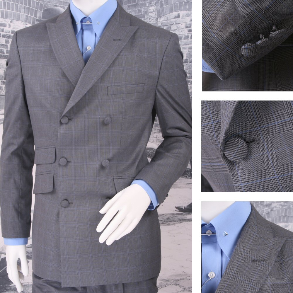 Get Up Mod Retro Double Breasted Slim Fit Prince of Wales Suit ...