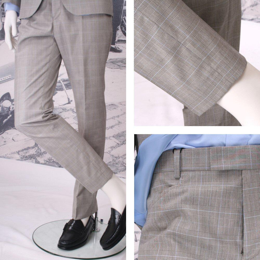 Get Up Mod Retro Frogmouth Pocket Slim Fit Prince of Wales Trousers Stone