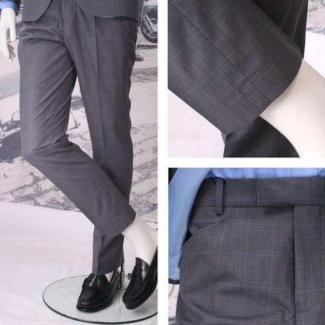 Get Up Mod Retro Frogmouth Pocket Slim Fit Prince of Wales Trousers Charcoal