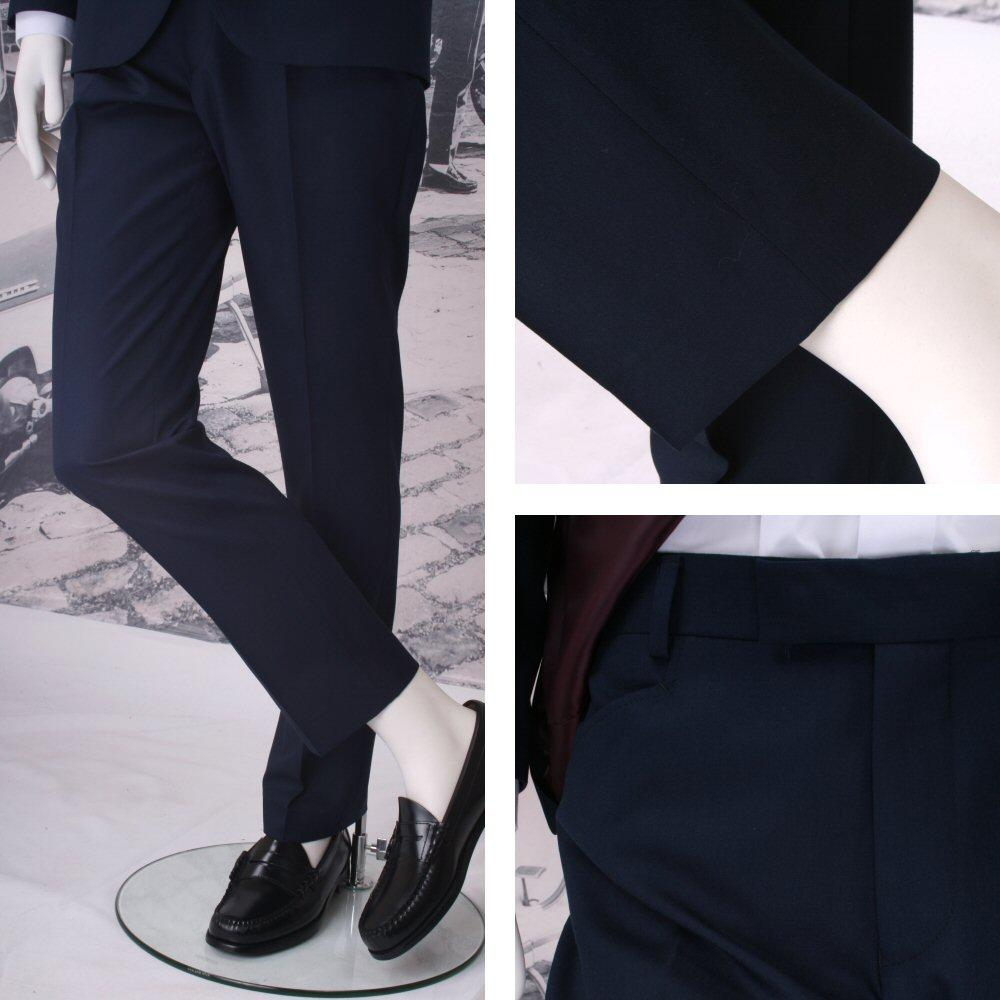 Get Up Mod Retro Frogmouth Pocket Slim Fit Micro Herringbone Trousers Navy
