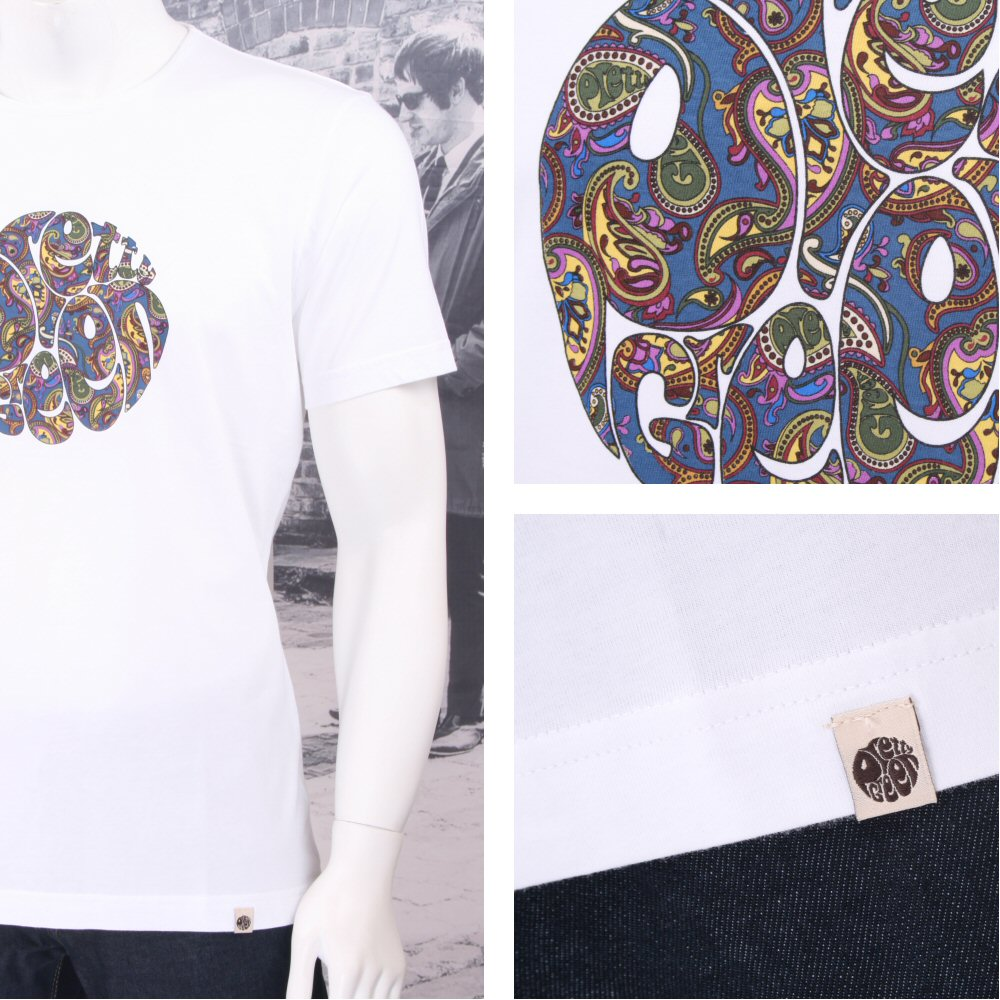 0cd9d07dc9f Pretty Green Skin Mod Retro Paisley Print Logo Crew Neck T-Shirt ...