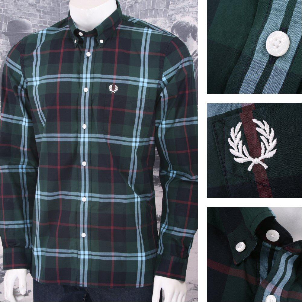 649b8d4c5 Fred Perry Mod 60 s Laurel Wreath Button Down L S Window Pane Check Shirt
