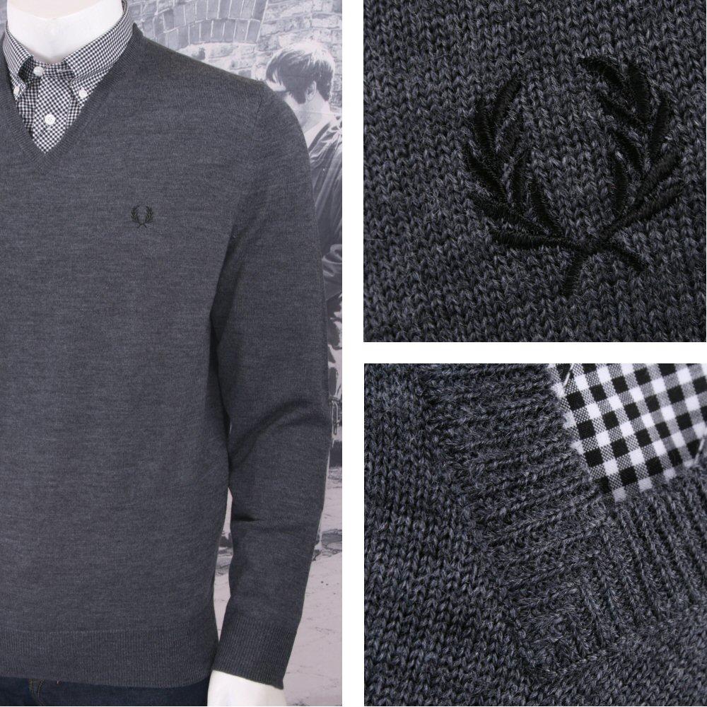 f311c621c Fred Perry Mod 60 s Laurel Wreath Merino Wool Knit V Neck Jumper Charcoal  Thumbnail 1 ...