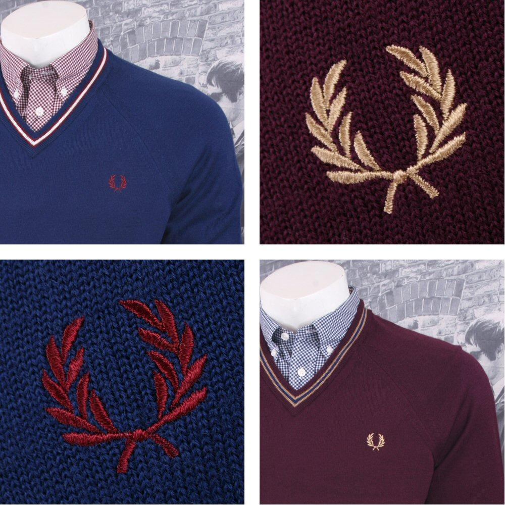 05518c76b52fa1 Fred Perry Mod 60's Laurel Wreath Tipped Knit Merino Wool V Neck Jumper |  Adaptor Clothing
