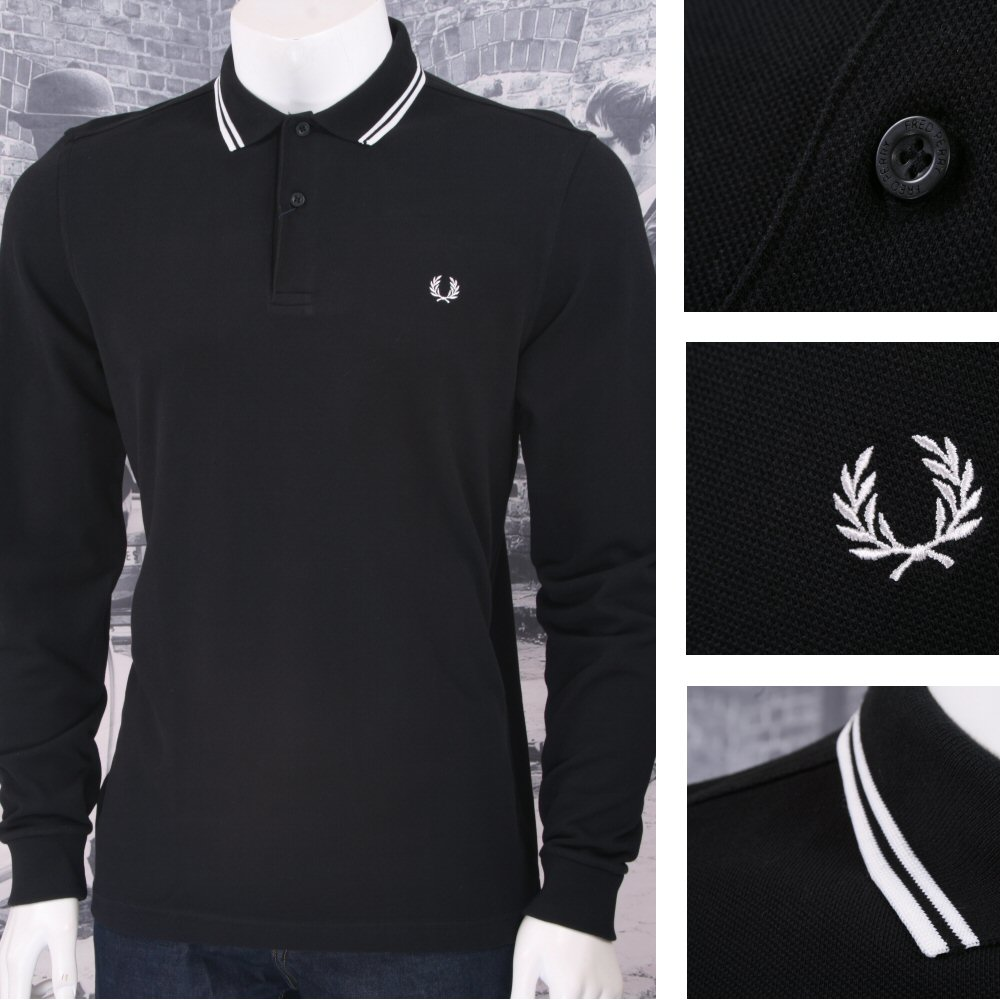 7d362011 Fred Perry Mod 60's Classic Laurel Wreath Tipped Pique L/S Polo Shirt
