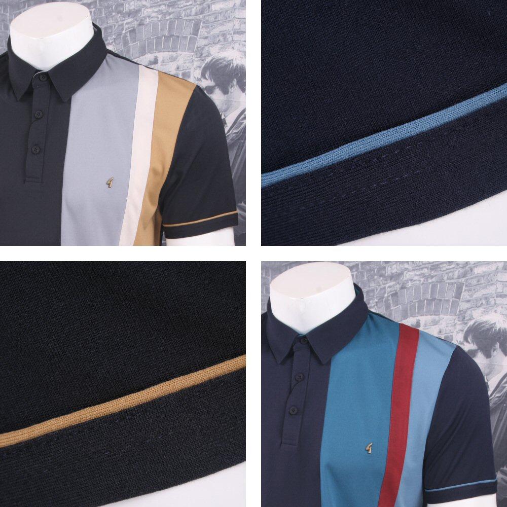 856835fb Gabicci Vintage Mod Retro 60's Racing Stripe Panel S/S Polo Shirt Thumbnail  1 ...