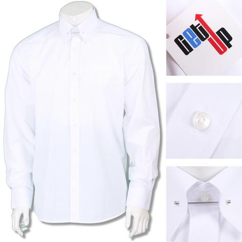 Get Up Mod Poplin Cotton PIN Collar L/S Regular Fit Smart Shirt Thumbnail 2
