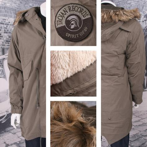 Trojan Mod 60's Retro Authentic Fishtail Hooded Parka Coat Khaki Green Thumbnail 1
