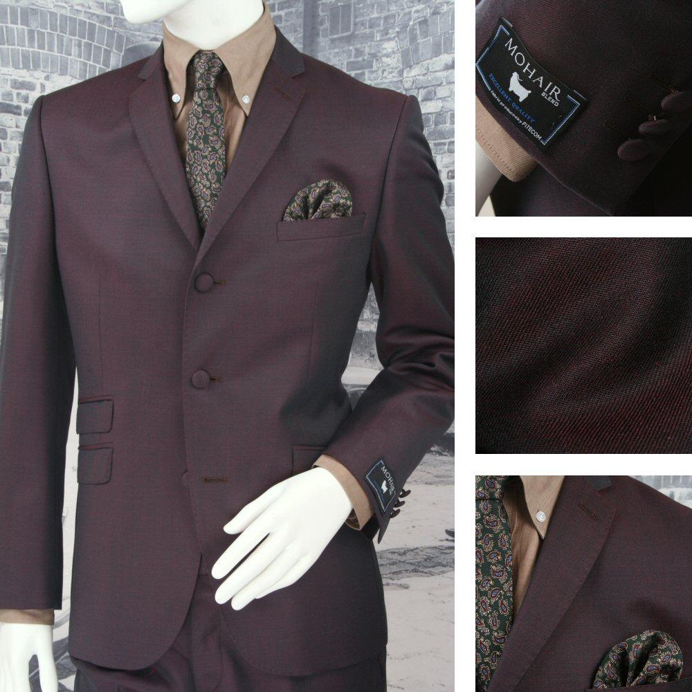 Adaptor Clothing Mod 3 Button Tonic Two Tone Mohair Suit BURGUNDY/Green