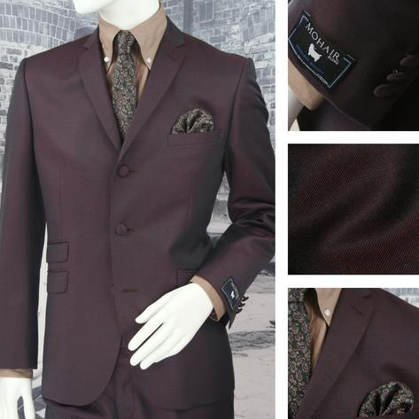 Adaptor Clothing Mod 3 Button Tonic Two Tone Mohair Suit BURGUNDY/Green Thumbnail 1