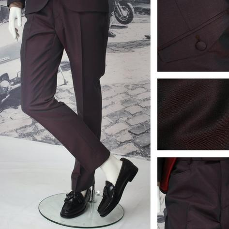 Adaptor Clothing Mod Frog Mouth Pocket Tonic Two Tone Mohair Trousers BURGUNDY/G
