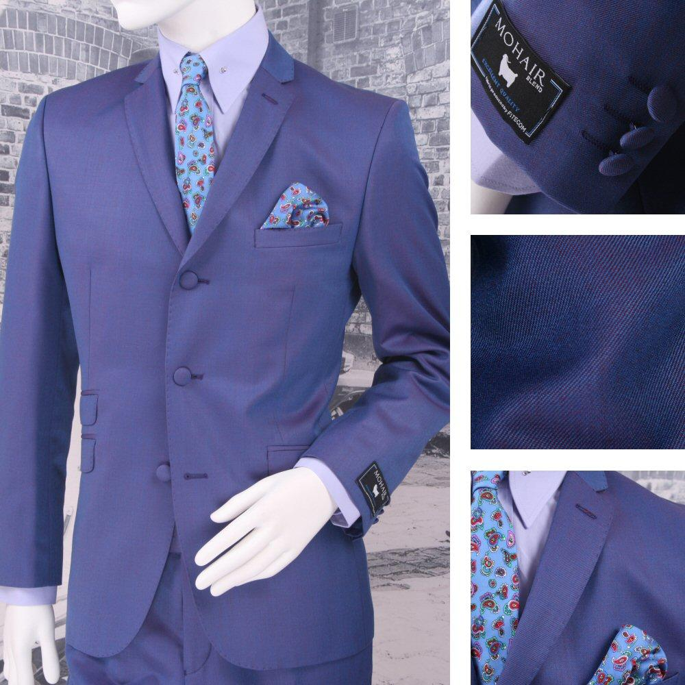 Adaptor Clothing Mod 3 Button Tonic Two Tone Mohair Suit PURPLE/Blue