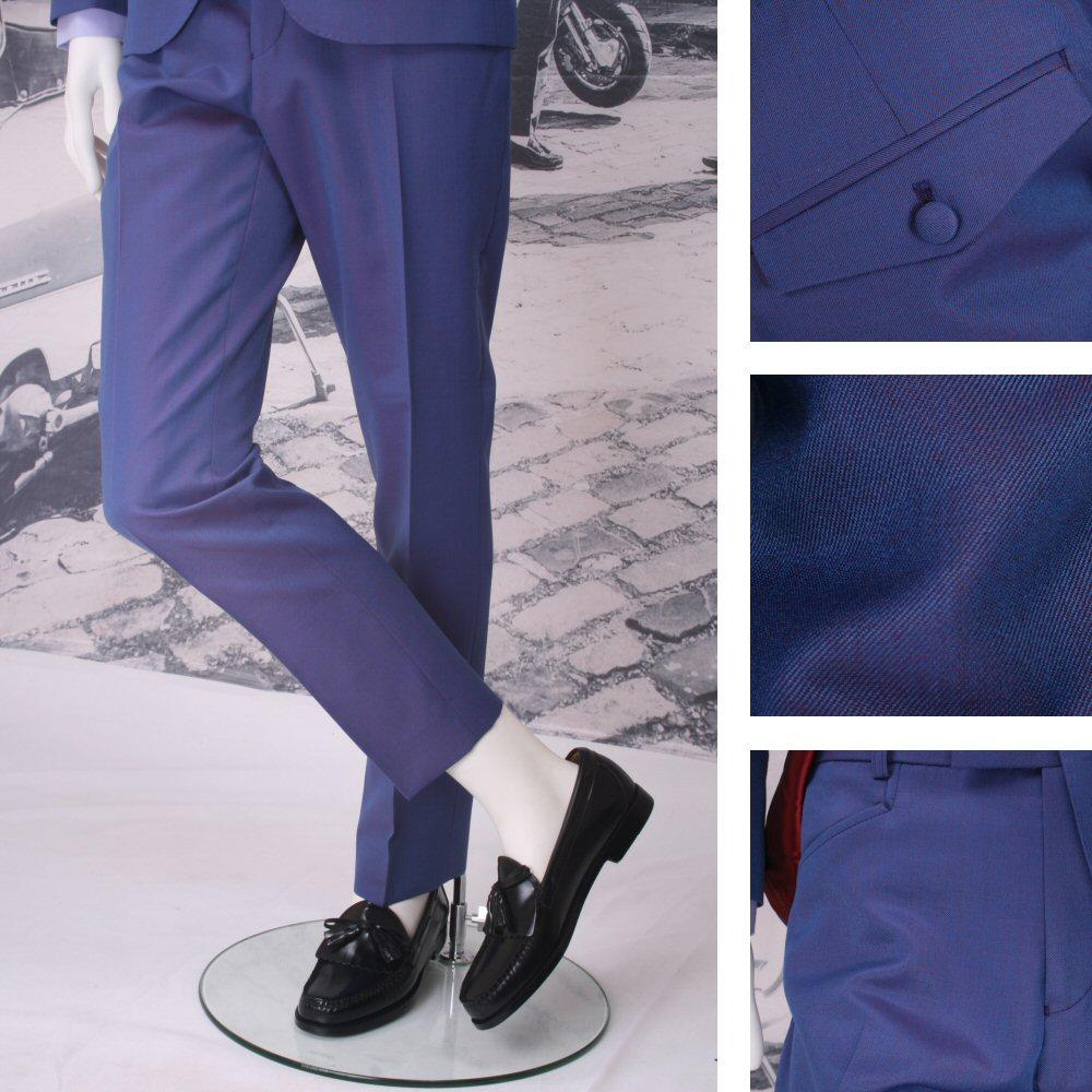 Adaptor Clothing Mod Frog Mouth Pocket Tonic Two Tone Mohair Trousers PURPLE/Blu