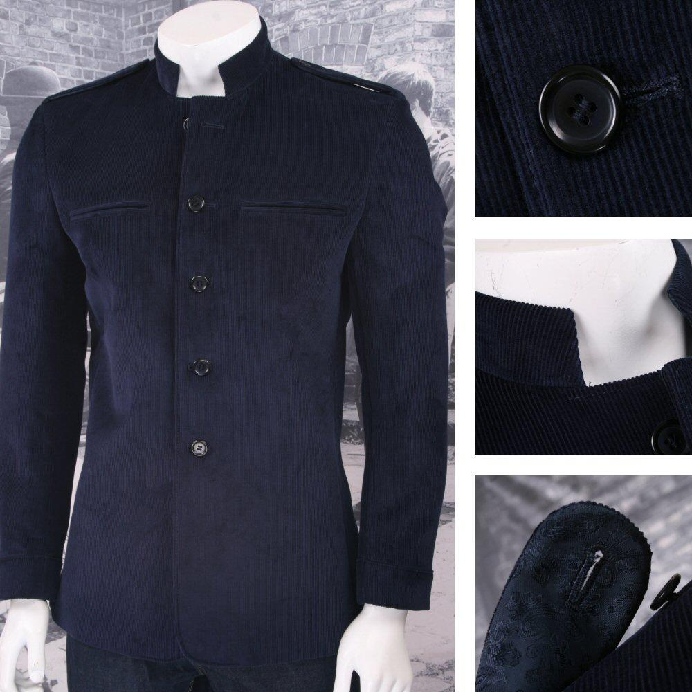 17227b8c41a Beatwear Skin Mod Retro Narrow Ribbed Corduroy Military Style Jacket Navy