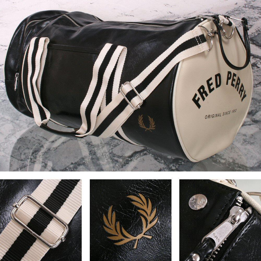 Fred Perry Mod Retro 60's Laurel Wreath Classic Barrel Bag Black/White