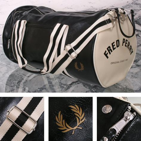 Fred Perry Mod Retro 60's Laurel Wreath Classic Barrel Bag Black/White Thumbnail 1