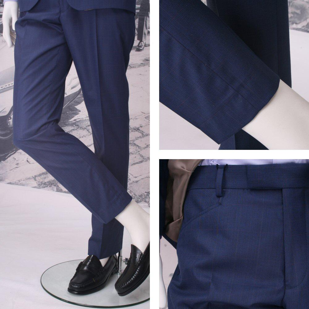 Get Up Mod Retro Frogmouth Pocket Slim Fit Prince of Wales Trousers Blue