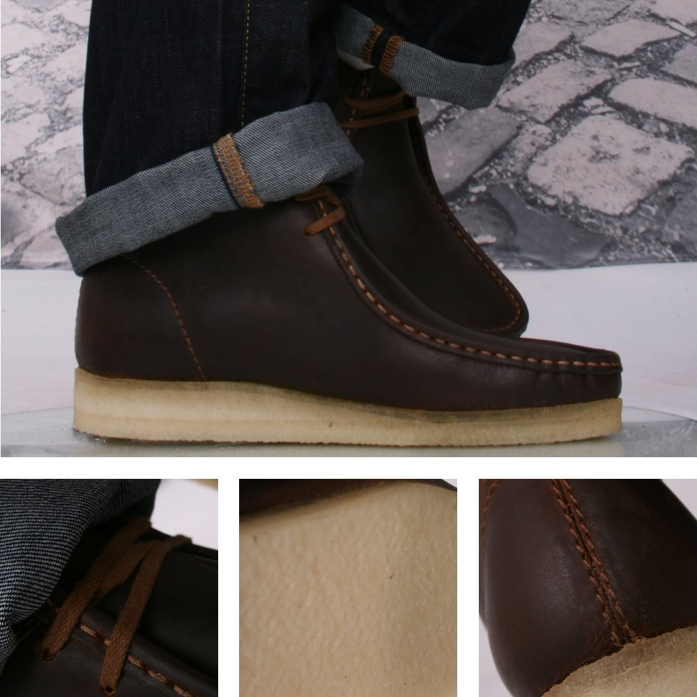 1abc3a71359 Clarks Originals 2 Hole Real Crepe Sole Wallabee Boot Brown Beeswax Leather
