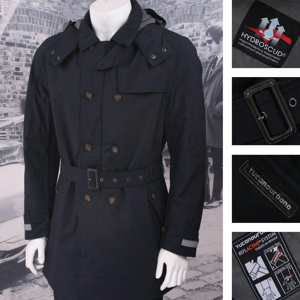 Tucano Urbano Padded Double Breasted Trench Coat Navy