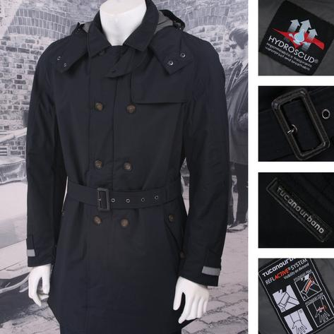 Tucano Urbano Padded Double Breasted Trench Coat Navy Thumbnail 1
