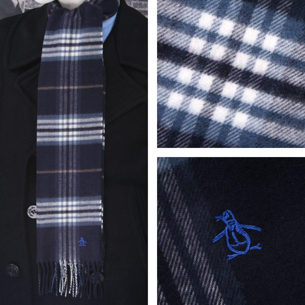Original Penguin Tassel Ends Tartan Look Check Scarf Navy