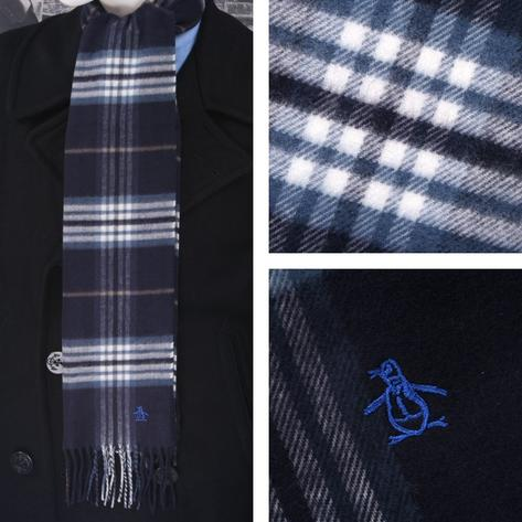 Original Penguin Tassel Ends Tartan Look Check Scarf Navy Thumbnail 1