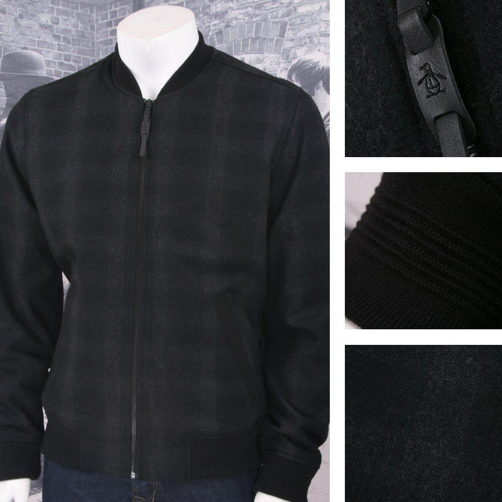 Original Penguin Wool Blend Checkered Zip Bomber Jacket Charcoal