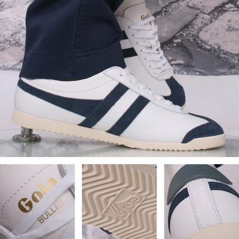 Gola Bullet Classic Leather Lace Up Trainer White / Navy
