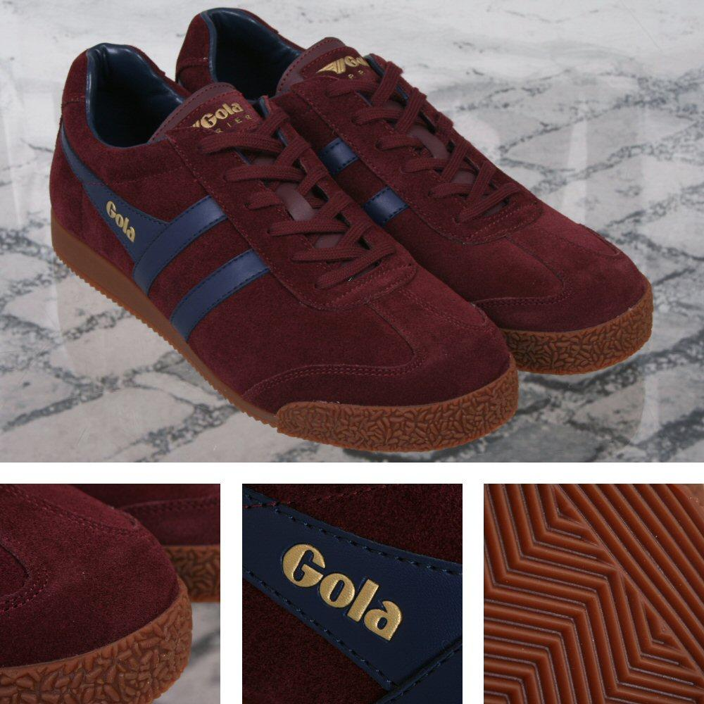 Gola Harrier Classic Leather Lace Up Trainer Burgundy / Navy