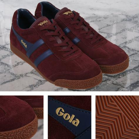 Gola Harrier Classic Suede Lace Up Trainer Burgundy / Navy