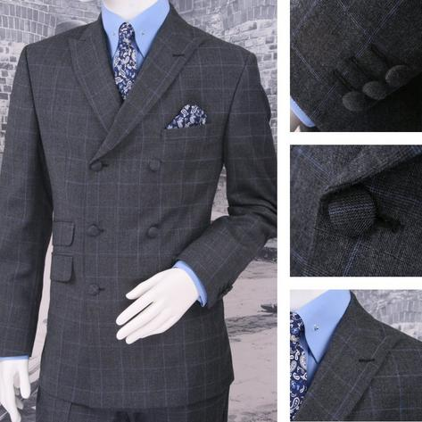 Adaptor Clothing Mod 60's Retro Double Breasted Slim Overcheck Suit Charcoal Thumbnail 1