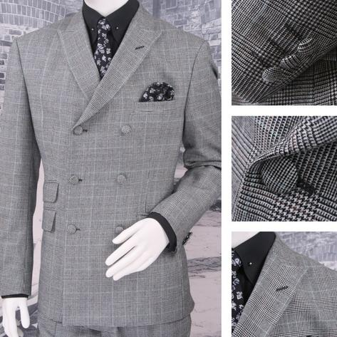Adaptor Clothing Mod 60's Retro Double Breasted Slim Prince Of Wales Suit Grey Thumbnail 1