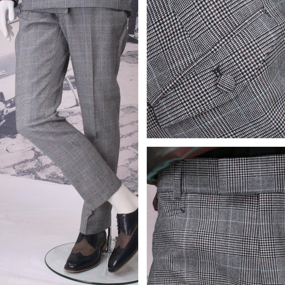 Adaptor Clothing Mod 60's Retro Frog Mouth Pocket Slim Prince Of Wales Trousers