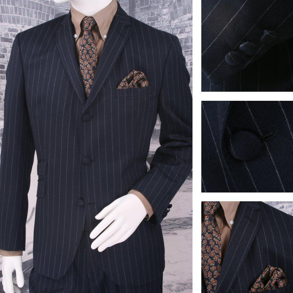 Adaptor Clothing Mod 60's Retro 3 Button Slim Pinstripe Chalk Stripe Suit Navy