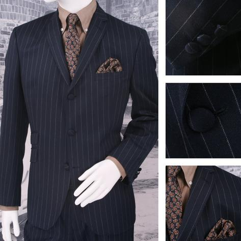 Adaptor Clothing Mod 60's Retro 3 Button Slim Pinstripe Chalk Stripe Suit Navy Thumbnail 1
