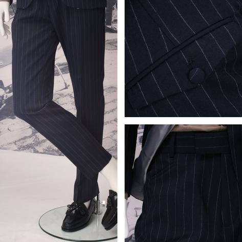 Adaptor Clothing Mod 60's Retro 3 Button Slim Pinstripe Chalk Stripe Suit Navy Thumbnail 2