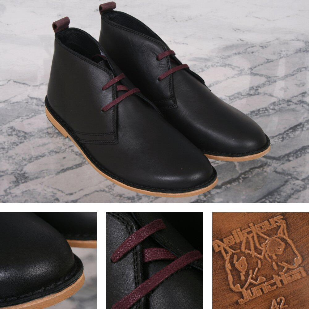 Delicious Junction 60's Resin Sole Lace Up Leather Desert Boot Black