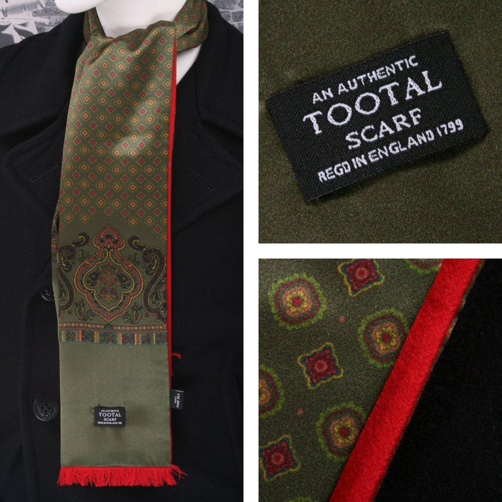 Authentic Tootal Mod 60's Retro Geometric Fringed 100% Silk Scarf Green/Red