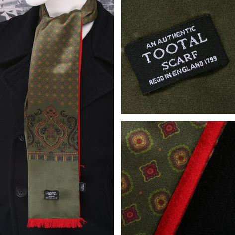 Authentic Tootal Mod 60's Retro Geometric Fringed 100% Silk Scarf Green/Red Thumbnail 1