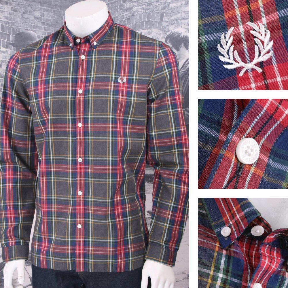 282528dd8 Fred Perry Mod 60 s Button Down L S Tartan Check Shirt Dark Green Thumbnail  1 ...