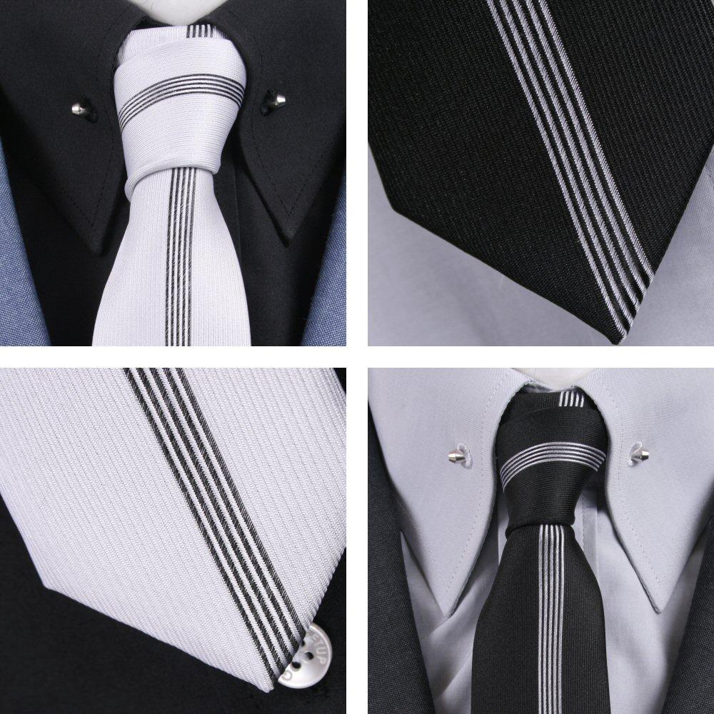 Knightsbridge Mod 60's Retro Vertical Stripe Slim Pointed End Knitted Silk Tie