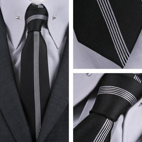 Knightsbridge Mod 60's Retro Vertical Stripe Slim Pointed End Knitted Silk Tie Thumbnail 3