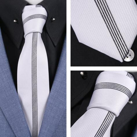 Knightsbridge Mod 60's Retro Vertical Stripe Slim Pointed End Knitted Silk Tie Thumbnail 2
