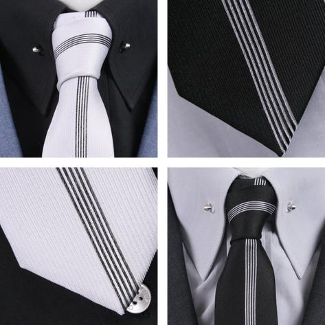 Knightsbridge Mod 60's Retro Vertical Stripe Slim Pointed End Knitted Silk Tie Thumbnail 1